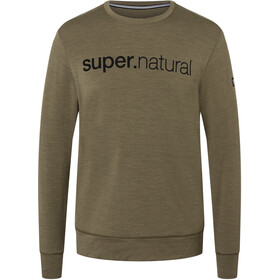 super.natural Signature Crew Top Men, olive night melange/jet black